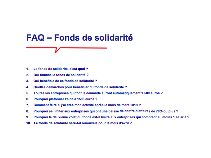 Fonds de solidarité : (...)